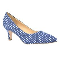 Chase & Chloe Diane Blue White Polka Dot Pointed Toe Low Heels Shoes - size 8.5m