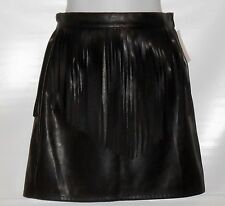 Divided H&M Ladies Faux Leather Fringe Mini Skirt Black Eight (8) NWT