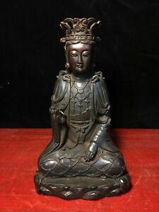 lot nr 615 old vintage Buddha statue figurine sculpture Buddah Budda colors painted with hieroglyphs on front