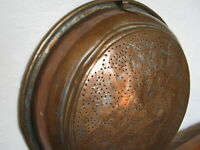 "Antique Primitive Hand Hammered 15"" Copper Strainer Colander Bowl Wall Hanging"