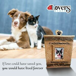 Pet Urn for Dog & Cat Ashes - Cremation Memory Box with Photo for keepsakes