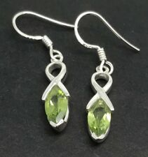 Real Peridot Gemstone marquise drop Earrings, Solid sterling silver, New. UK.