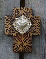 Sacred Heart Milagro Miracle Hand Painted wood Cross Mexican Folk Art Michoacán