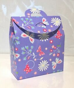 NEW PURPLE Gift Box Bags x 150 Flat Packed *Floral & Butterfly Pattern/Wholesale