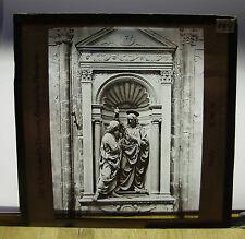 c1900 VERROCCHIO Sculpture CHRIST & St THOMAS + DONATELLO Niche ~ Lantern Slide