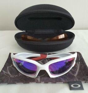 Oakley Customs Split Jacket Sunglasses White Frame - OO Red + Persimmon Lenses