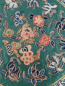 Antique Chinese Forbidden Stitch Embroidery Gold Couching Round Medallion Cloth