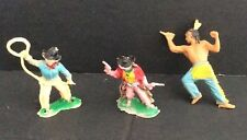 Vintage Cowboys and Indian Plastic Figures Hand Painted Set of 3