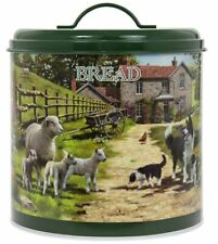 VINTAGE STYLE COLLIE AND SHEEP ROUND BREAD BIN ENAMEL STORAGE TIN CONTAINER