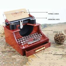Vintage Typewriter Music Box for Home Office Mechanical Decoration Kids Retro