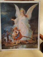 "Gallery Graphics Inc VTG Litho 22844: Guardian Angel - 18""x22"" - 0501-0195 - USA"
