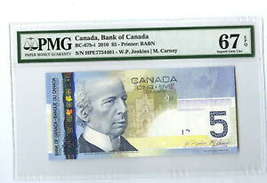 2010 $5 BANK OF CANADA PMG 67 EPQ BC-67b-i BANKNOTE JENKINS CARNEY - SUPERB GEM