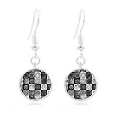 Photo 16Mm Glass Cabochon Long Earrings #43 Black and Whit Art Tibet Silver Dome