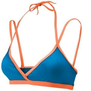 Mizuno Women's Tempest Beach Volleyball Top, diva blue-blazing orange, Sz XL