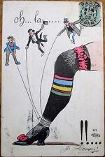 Yruam/Artist-Signed Risque 1903 Postcard: Woman's Leg/Stocking & Three Small Men