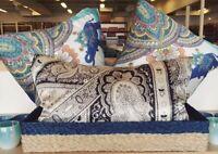 Pottery Barn Demi Lumbar Pillow Cover Ivory Gray Charcoal 16x26 Silk Paisley