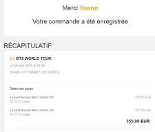 BILLET CONCERT BTS WORLD TOUR 8 JUIN 2019 STADE DE FRANCE