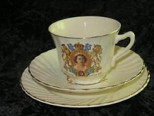 Commemorative TRIO Coronation King George VI & Elizabeth English Bone China 1936