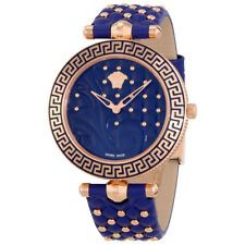 Versace Vanitas Blue Dial Ladies Leather Watch VK7740017