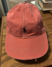 Ralph Lauren Polo Distressed Dark Pink  Hat With Leather Backstrap One Size