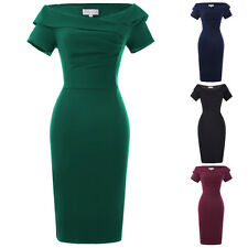 Women Retro Vintage Casual Party 50s Wiggle Pencil Dress Formal Cocktail Evening