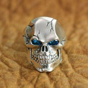 925 Sterling Silver CZ Eyes Skull Mens Biker Gothic Ring Punk Jewellery TA131B