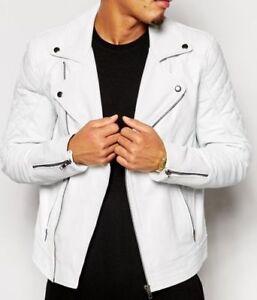 Men Leather Jacket White New Slim fit Biker genuine lambskin jacket