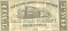 Louisiana New Orleans, Jackson & Great Northern RR $2 Obsolete Currency 1861 XF