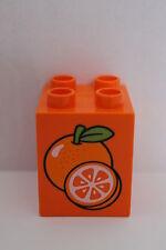 LEGO DUPLO Baustein Motivstein Orangen Apfelsinen orange 2x2 Noppen hoch NEU