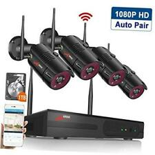 Wireless Home Security Cameras System,4CH 1080P HD NVR Outdoor Surveillance Syst