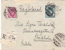 Egypt 1925 Registered cover sent to Sweden