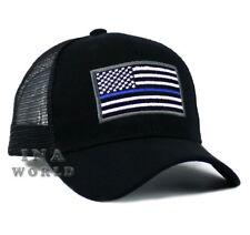USA Flag hat POLICE THIN BLUE LINE SUPPORT LAW ENFORCEMENT Mesh Snapback- Black