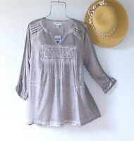 New~$69~Gray Peasant Blouse Crochet Lace Shirt Boho Top~Size Large L