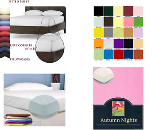 """Extra Deep Fitted Sheet 9""""/16"""" Drop Polycotton Percale All Sizes & Pillowcases"""