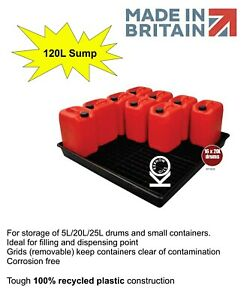 16x 20L/120L Oil Chemical Bunded Drip Sump Spill Pallet Tray Removable base grid
