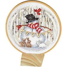 Cross Stitch Kit ~ Dimensions Joyful Snow Globe Snowman w/Hoop & Stand #70-08979