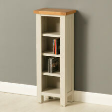 Mullion Painted Small Bookcase / Narrow Wooden DVD Stand / Stone Grey Shelving