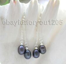 Genuine Natural 7x9mm black drip pearl Earrings Dangle 925ss #f1252!