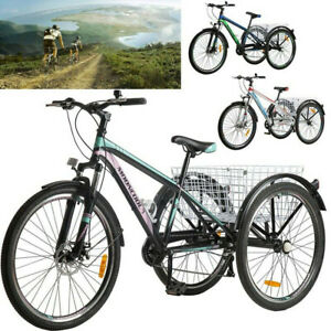 """MTB Tricycle 3-Wheel Mountain Bike 7Speed 24"""" for Adult w/front &Rear Brakes USA"""