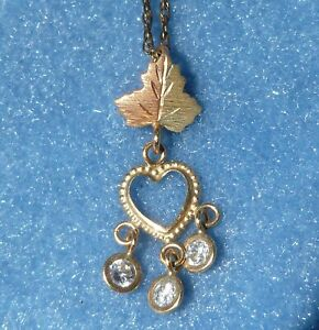 Multi Color 10K Gold Grape Leaf Heart Dangle Pendant