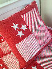 Large 50 cm Linens N Things Lachlan Nautical Red Stars Filled Cushion