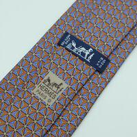 Hermes Paris Made In France Multi Color Geometric Pattern Silk Tie 7081 OA