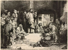 Rembrandt Etching Reproduction: Christ Preaching -  Fine Art Print