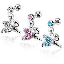 G#29 - 3pcs Gem Stud 16g Ear Tragus Rings w/Fairy Dangle Wholesale Body Jewelry