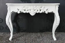 Konsole WEIß Antik-Finish Luxuriös prunkvoll Sideboard Barock Rokoko Ablage 85cm