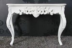 Console Blanc Finition Antique Luxuriös Palatial Buffet Baroque Rokoko Depose