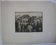 Berthold Hellingrath Sächsische Schweiz III Orig Radierung 1930 signiert