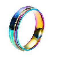 Herren / Damen Bunt Regenbogen Ehering Persönlichkeit Titan Edelstahl Ring Czxy
