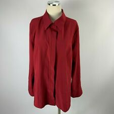 Lane Bryant 14 / 16 Blouse Long Sleeve Crimson Career Holiday Red Button Front