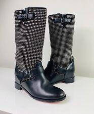 Christian Louboutin Akhalil 70 Black Leather Studded Biker Boots 37